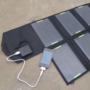 28W 5V USB DC 9V - 18V Dual Ports Foldable Solar Power Charger for Notebook Computer Phone pictures & photos