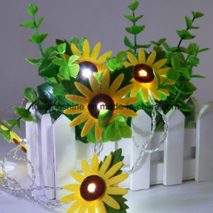 10 Light up Sunflower LED Starry Lights Clear Wire AA Powered Non-Woven Light String pictures & photos