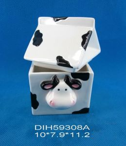 Cow Shape Ceramic Hand-Painted Sugar Jar pictures & photos