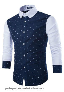 Classical Mens Long Sleeve Fit Shirt with Custom Print Logo pictures & photos