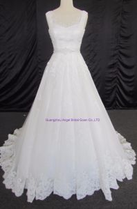 Tulle Ruched Asymmetrical Modest Bridal Gown pictures & photos
