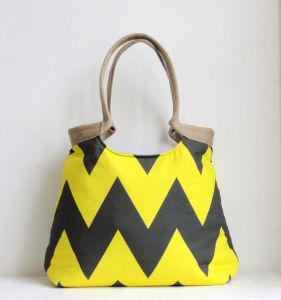 Neon Yellow and Grey Chevron Hand Bag with Burlap (BDMC114) pictures & photos