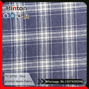 Cotton Polyester Check Pattern Printed Jean Fabric 11oz pictures & photos