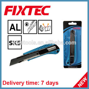 Fixtec Hand Tool Hardware 18mm Aluminium-Alloy Snap-off Blade Knife with TPR Grip pictures & photos