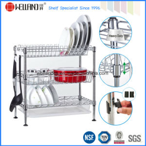 DIY Chrome Plated Steel Wire Kitchen Corner Dish Drying Rack pictures & photos