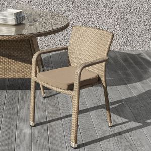 Well Furnir T-050 Patio 6 Arm Seater Round Rattan Dining Set with Cushion pictures & photos