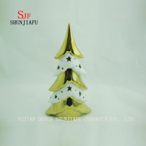 Tabletop Ceramic Lighted Plating Ceramic Electroplating Xmas Tree pictures & photos
