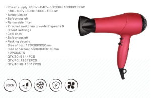 2000W Power Safety Cut off Blow Dryer with Turbo Function pictures & photos