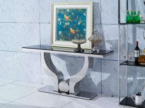 Mirrored Stainless Steel Console Table with Mirror