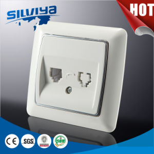 New Design! Double Telephone Electric Wall Socket with Ce Certificate pictures & photos
