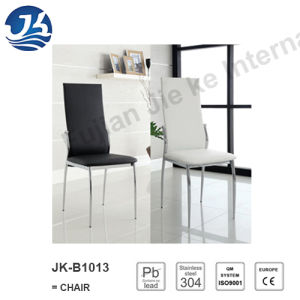 Black and White Modern Leatherette Stainless Steel Dining Chairs (JK-B1013)