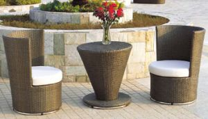 Garden Outdoor Furniture Rattan Swivel Chair with Coffee Table pictures & photos