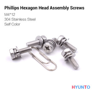 M4*12 Phillips Hexagon Head Assembly Screw with Self Color