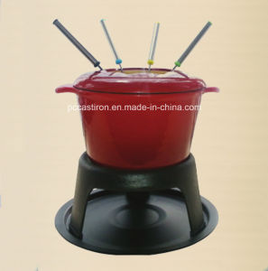 LFGB, Ce, FDA, SGS Cast Iron Chocolate Fondue with 6 Forks pictures & photos