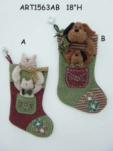 Christmas Cat and Dog Stocking Gift-2 Asst-Christmas Stocking pictures & photos