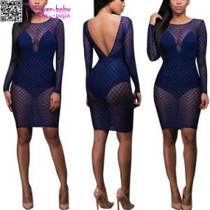 Tyra Navy-Blue Mesh Bodysuit Dress L81191 pictures & photos