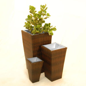 Rattan Square Flower Pots for Outdoor pictures & photos