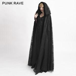 Y-629 Black Reversible Gothic Flower Pattern Velvet Fabric Big Cape Long Coat pictures & photos