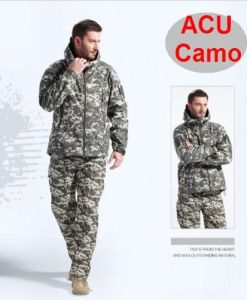 Outdoor Sharkskin Soft Shell Coats Jacket Hoodie Acu Camo pictures & photos