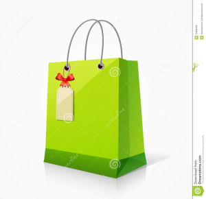 Green Paper Shopping Bags with Tag pictures & photos