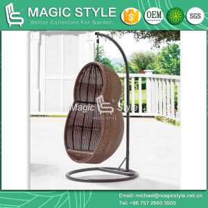 Peanut Shape Wicker Swing Outdoor Wicker Swing Chair with Cushion Patio Hammock (Magic Style) pictures & photos