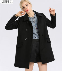 Fashion Ladies Collar Thin Wool Viscose Coat Women European Style Double Breasted Long Sleeve Black Coat pictures & photos