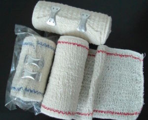 Elastic Crepe Cotton Bandage with Bule Line (Manufacturer) /Medical Bandage/Surgical Bandage pictures & photos