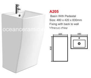 Pedestal Basin No. A205 White Rectangular Basin with Pedestal pictures & photos