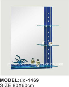 Blue Border Retro Square Bathroom Mirror with Shelf Bathroom Mirror pictures & photos