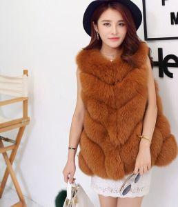 2015 Fashion Jacket Style Sleeveless Real Fox Fur Vest Women pictures & photos