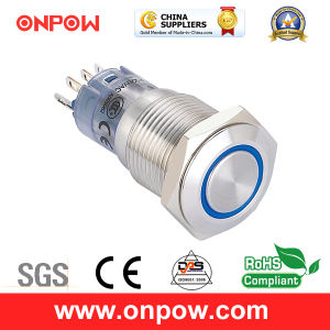 Onpow 16mm Illuminated Push Button Switch (LAS2GQF-11E/R/12V/S, CE, CCC, RoHS) pictures & photos