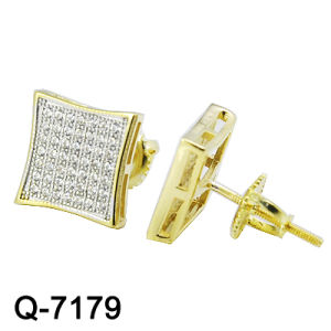 2016 New Designs Fashion Square 925 Silver Micro Pave Ear Studs with 18k Gold Plating (Q-7179) pictures & photos