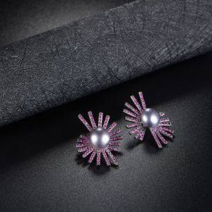 Fashion Jewellery Bridal Dress Accessory Purple Crystal Black Pearl Earring pictures & photos