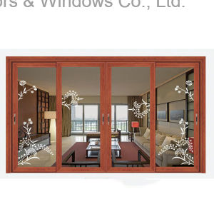 Thermal Break Aluminum Sliding Golden Oak Window (FT-W85) pictures & photos