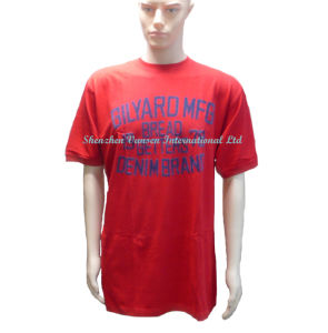 Customized Advertising Red T Shirt with Flocking Printing Logo pictures & photos