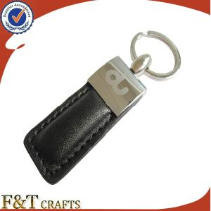 Cheap Wholesale Custom Made Metal Laser Logo Leather Keychain pictures & photos