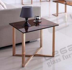 Small Luxury Gold Stainless Steel Coffee Table with Tea Glass Top pictures & photos