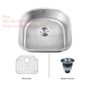 "23-1/2""X18-1/8"" Stainless Steel D Shape Under Mount Single Bowl Kitchen Sink pictures & photos"