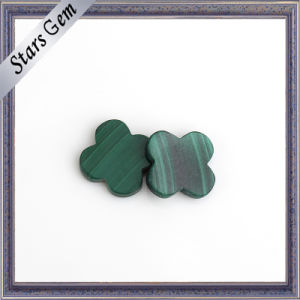 Two Flat Back Green Flower Shape Natural Malachite Stone pictures & photos