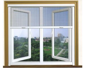 PVC Double Glazed Casement Window with Grill Design pictures & photos