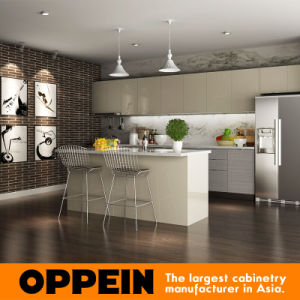 Modern Grey HPL Wood Wholesale Kitchen Furniture with Island (OP15-HPL03) pictures & photos