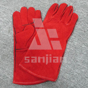 Red Split Leather Ab/Bc Grade Welding Safety Glove with CE pictures & photos