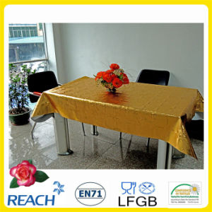 Metal PVC Tablecloth Overlay with Gold and Emboss Design in Roll Factory pictures & photos