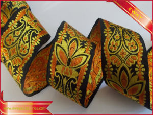 Golden Woven Metallic Jacquard Ribbon (E-WT-30) pictures & photos