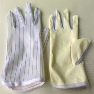 Antistatic Fabric Dotted PU Finger or Palm Coating Gloves pictures & photos