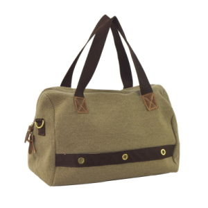 Eyelet Army Green Weekender Canvas+PU Leather Duffel Bag Zxk1027 pictures & photos