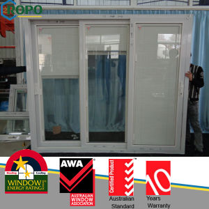 Veka White UPVC Sliding Stacking Doors with Blinds Glass pictures & photos
