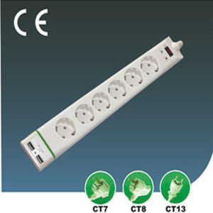 Six Ways Surge-Proof EU Extension Socket with Switch with USB