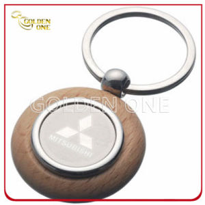 Custom Mitsubishi Motors Logo Wooden Key Ring with Metal pictures & photos