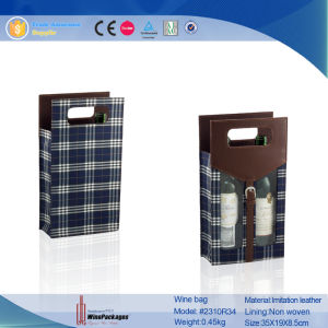 Double Bottle Cheap Fabric Foldable Custom Wine Bag (2310R34) pictures & photos